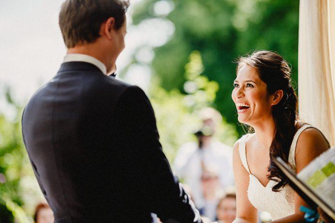 bride and bridegroom during wedding service