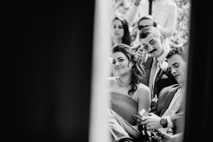 black and white photo of wedding guests