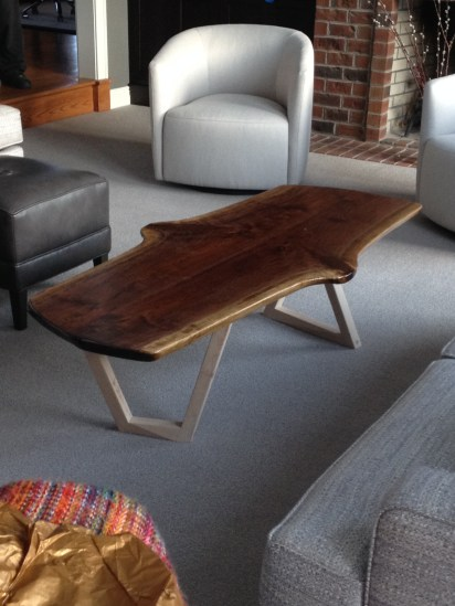 Walnut slab table with chem metal legs