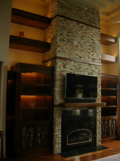 Fireplace mantle, shelves and cabinetry
