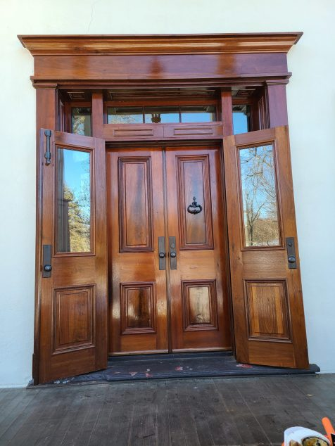 Custom Walnut Storm doors