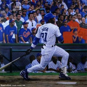 painting of Steven Schwab's photo of Sammy Sosa's 62nd homerun.