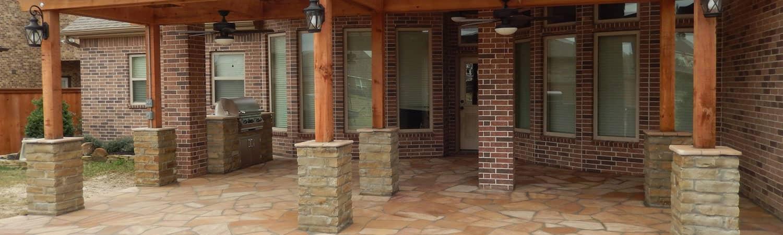 outdoor kitchens houston kitchen floor rugs porch columns, benches & stone sitting walls tx ...