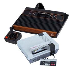 old Atari and Nintendo consoles