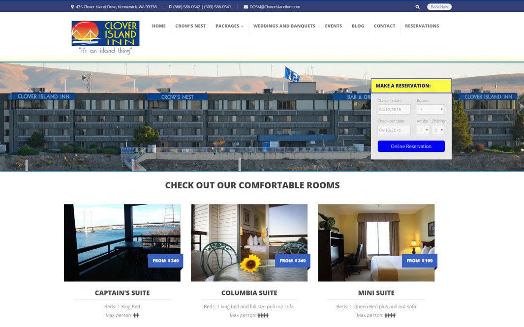 cloverislandinn kennewick website advertising