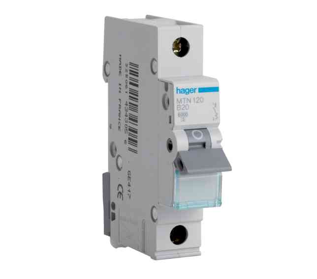 Mtn120 Range Single Pole Miniature Circuit Breaker Type B Mcb 20amp