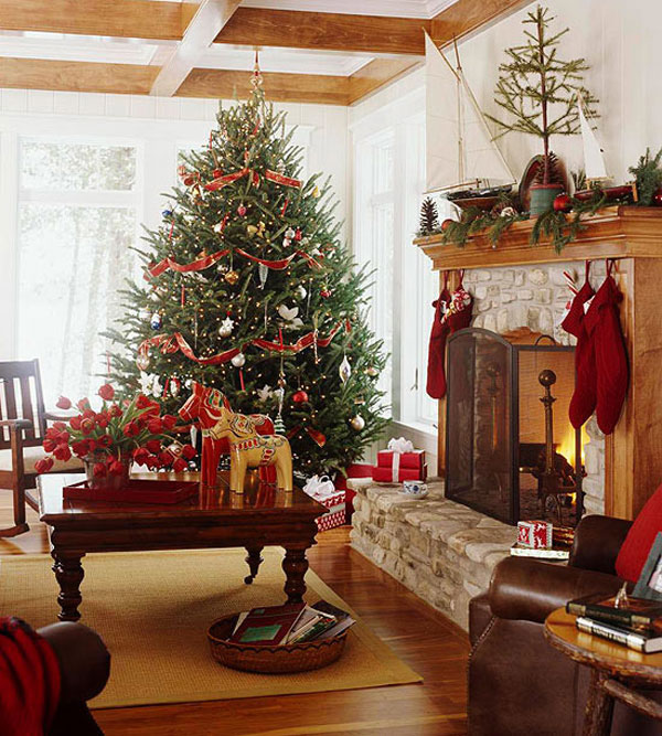christmas decorating ideas for sofa table modern sleeper fireplace beautiful wooden beams ceiling living room rooms decoration beam and flooring
