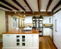 Architecture: Exposed Dark Wood Beams And Drywall Wood ...