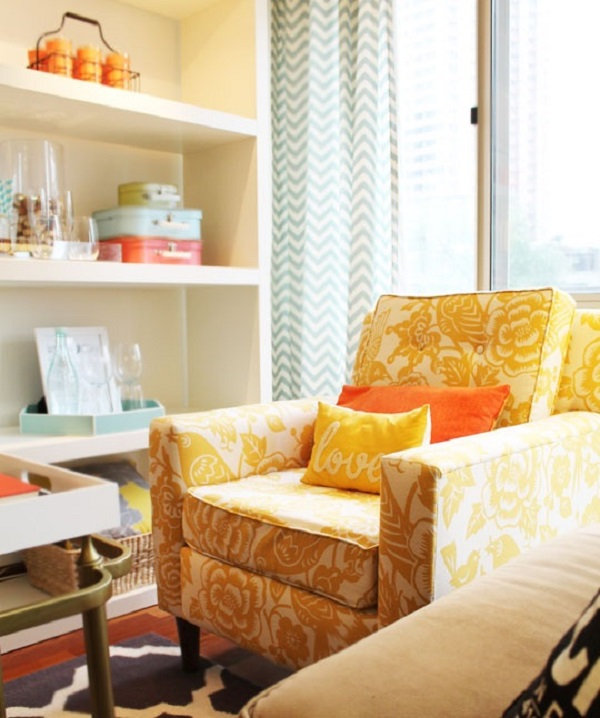 orange upholstered chair blue velvet chairs diy with color plus shelves and 12 inspiring upholstery ideas