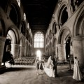 Sarah walks to her wedding at Southwell Minster