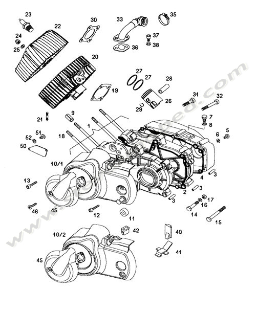 Catalogs / TOMOS SPRINT A55 /ENGINE,CRANKCASE,CYLINDER,PISTON