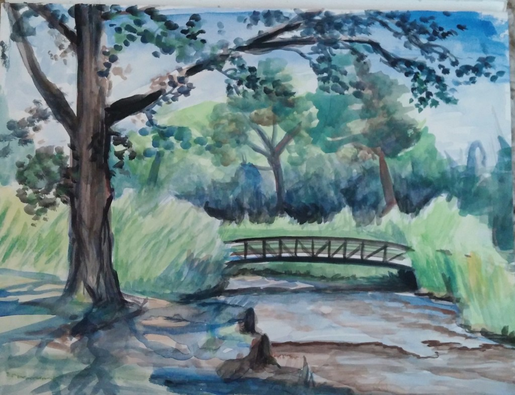 """This is the painting I was doing when Jim took my picture. 11""""x14"""" watercolor."""