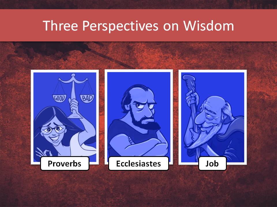 These are the three characters that depict the three books of Hebrew Wisdom: Proverbs, Ecclesiastes, and Job.