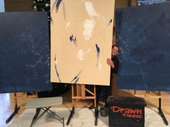 Paul with the canvases.