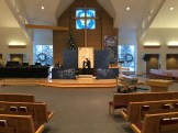 The chancel a couple hours before people arrived. Notice there are five canvases