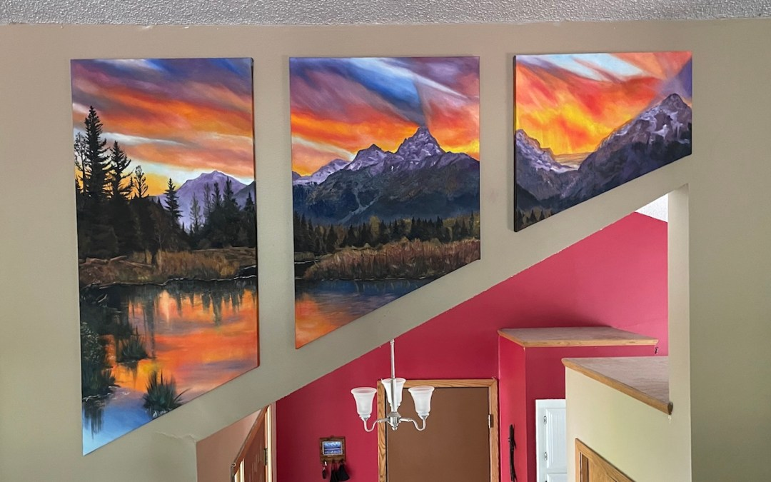 Grand Tetons Oil Painting Triptych