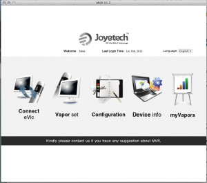 Joyetech MVR 1.2 mac and PC main menu