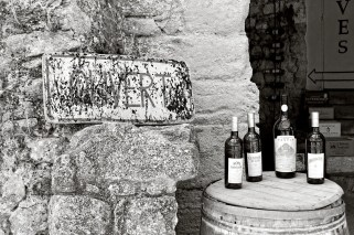 Entrance to a wine shop situated in the Château-Vieux, Lourmarin, France.