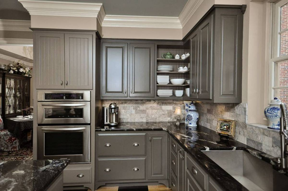 painted gray kitchen cabinets crown molding 30 43 ideas for any color and size