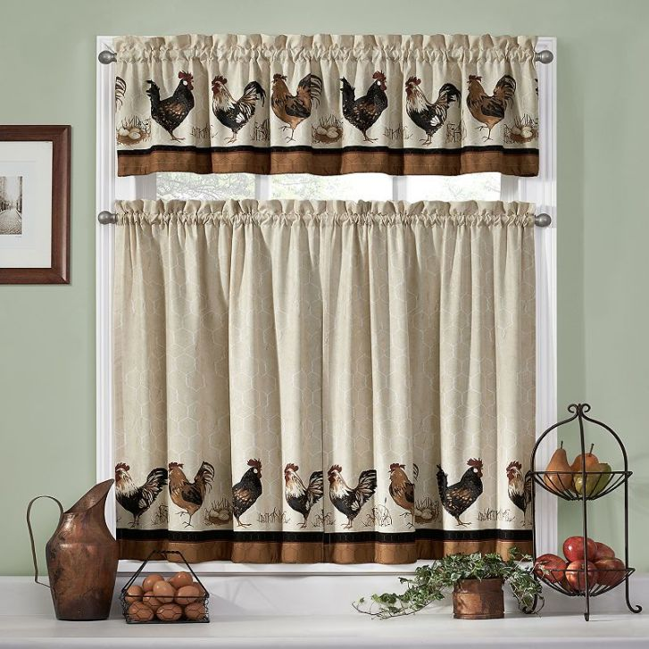 Pics Photos Rooster Kitchen Decor Curtains