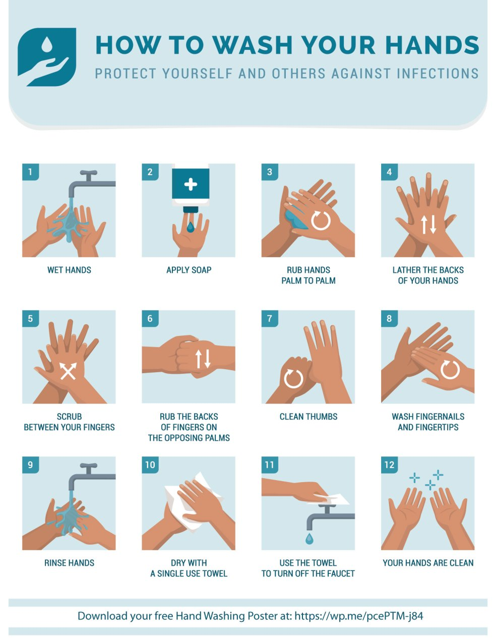 How to wash your hands to protect yourself and others against infections. A free printable poster.