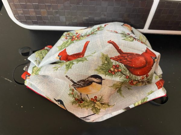 Winter Red Birds Face Mask - a nice winter-themed face mask with cardinal and finch on it. #RedBirds #Cardnial #Finch