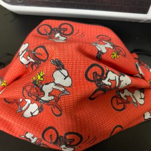Snoopy & Woodstock On A Bicycle Face Mask - A Face Mask with Snoopy and Woodstock on bikes. #Snoopy #Woodstock