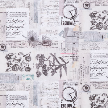 Vintage Text Face Mask - a face mask with a collage of clippings of old sketches, black and white prints and vintage calligraphy.