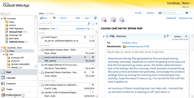 A quick look at Outlook Web App improvements in Exchange
