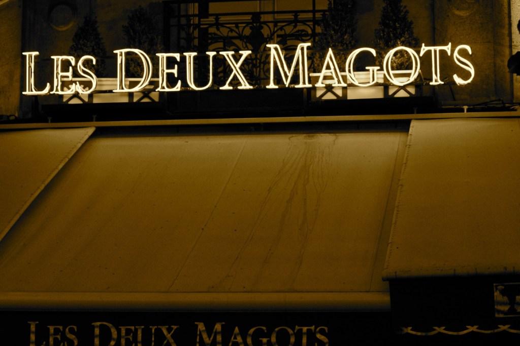Night shot of the famous Les Deux Magots Café Brasserie in Paris' Latin Quarter