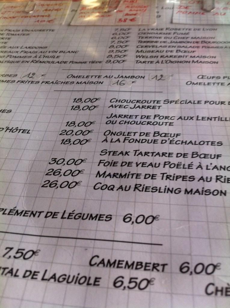 Menu at Brasserie de L'Isle at Isle St Louis in Paris