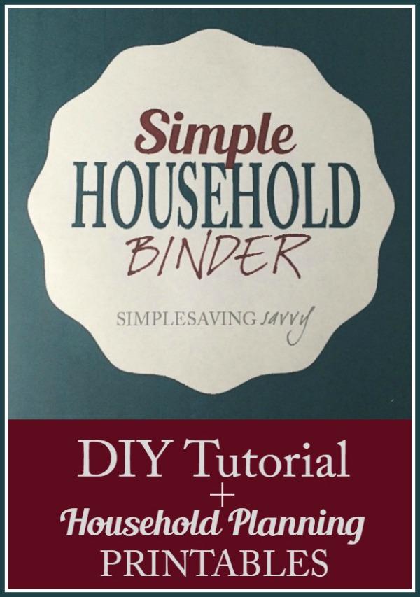 Simple Household Binder plus Household Planning Printables