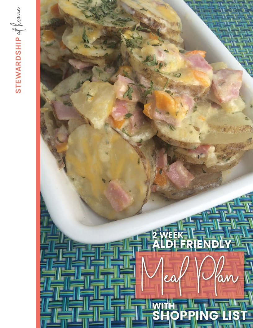 2-Week Aldi Friendly Meal Plan from StewardshipatHome.com. 14 delicious, home-cooked recipes featuring a variety of meats including beef, chicken, pork, ham and ground turkey.