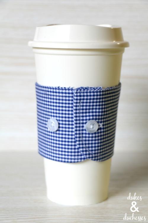 repurposed shirt cuff coffee sleeve
