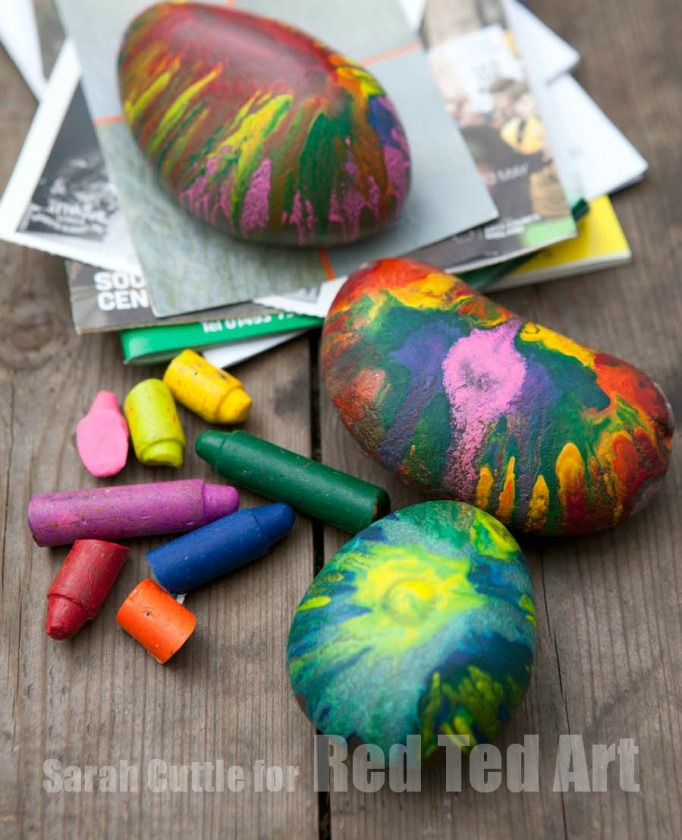 melted crayon rocks for paper weights