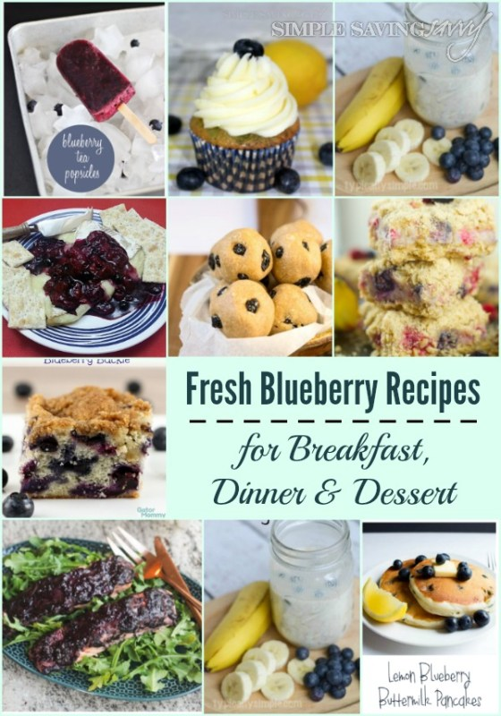 Fresh Blueberry Recipes for Breakfast, Lunch and Dinner