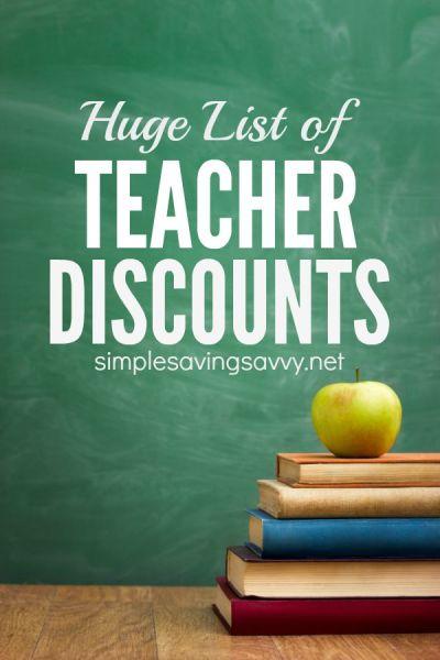 Huge List of Teacher Discounts