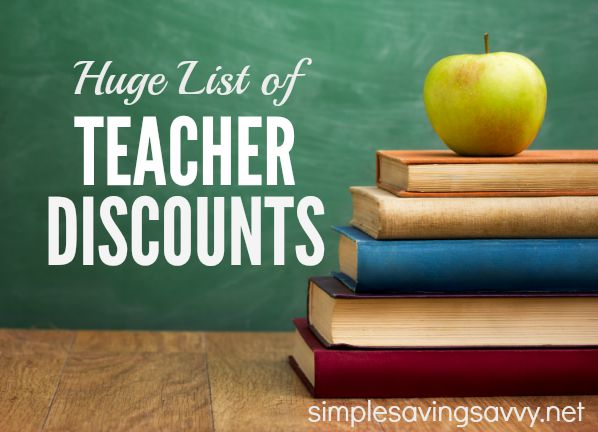 Huge List of Teacher Discounts