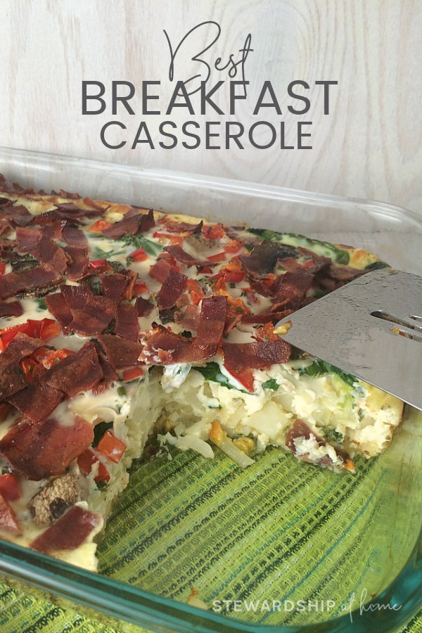 Best Breakfast Casserole fits the bill  for breakfast, brunch or dinner! Featuring super foods like red bell peppers, spinach and mushrooms, it's easy peasy and delicious!
