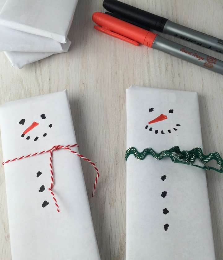 How to decorate the snowmen for your Snowmen Candy Bar Basket
