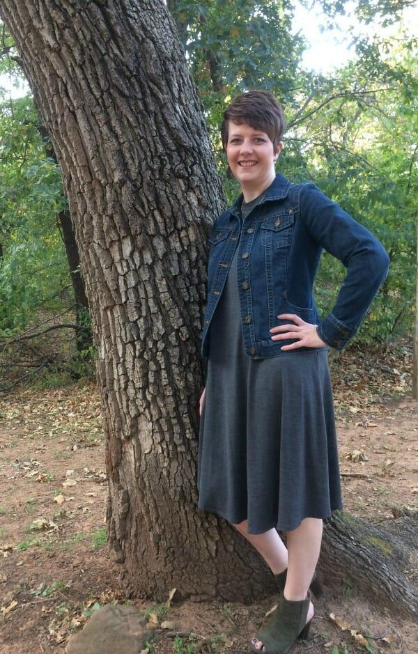 remi swing dress with jean jacket