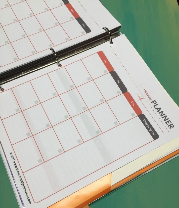 simple household planner monthly meal planning printable page