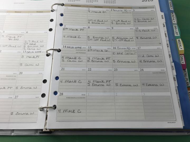 simple household planner calendar