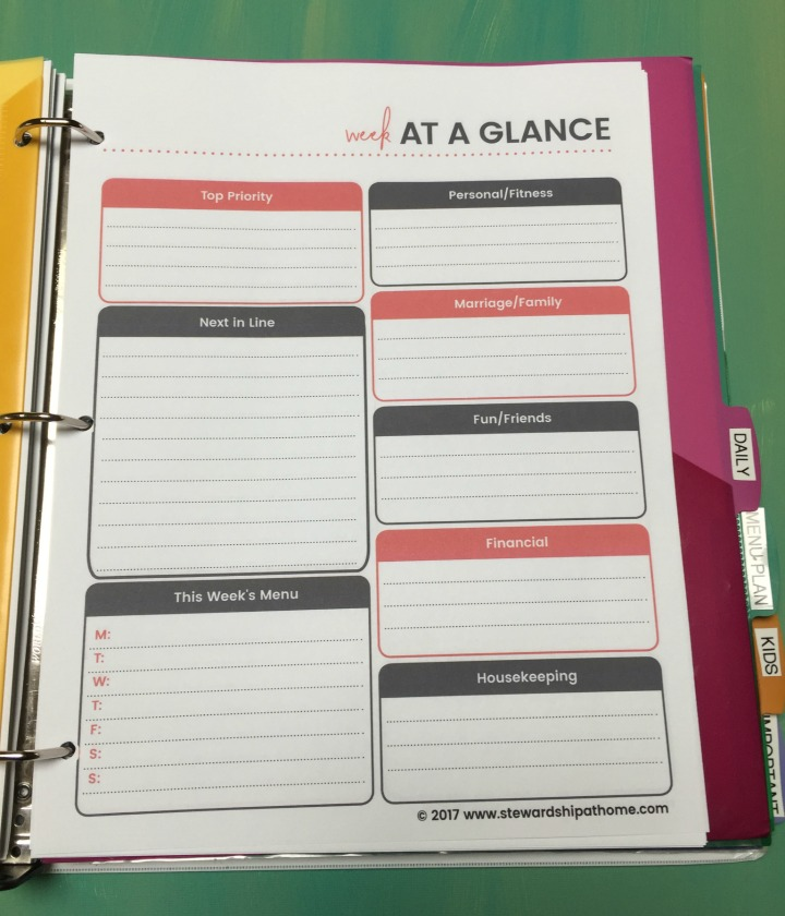 simple household planner weekly planner with goals printable page