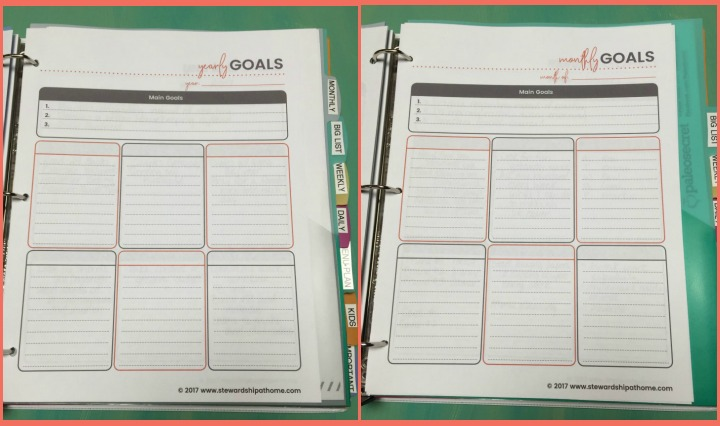 simple household planner yearly monthly goals printable pages