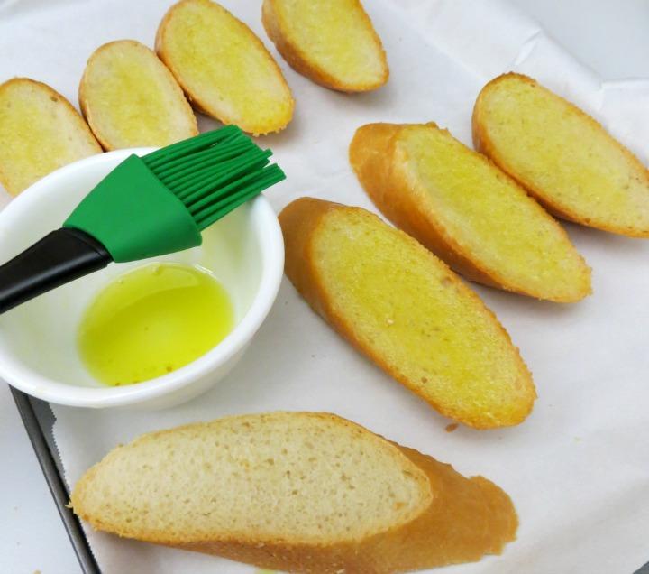 buttered baguette for tomato bruschetta