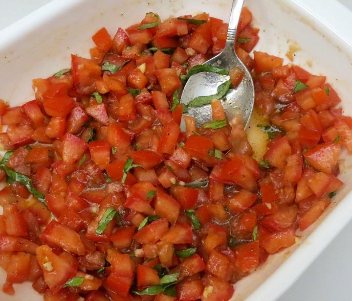 tomato and basil mixture for classic tomato bruschetta