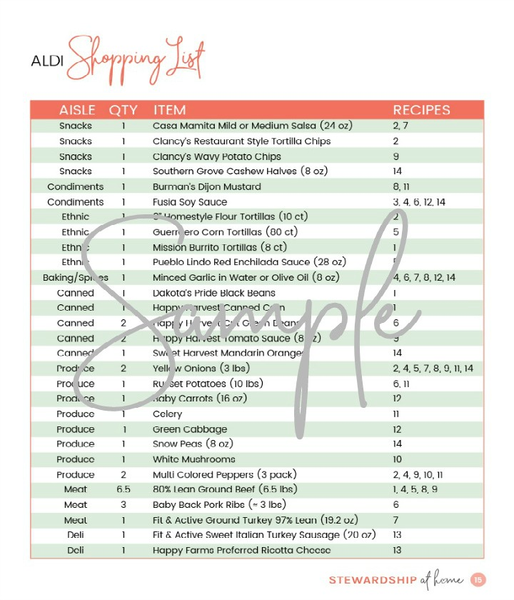 two week aldi friendly meal plan shopping list