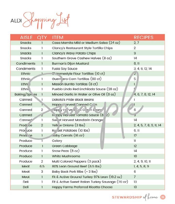 2-Week Aldi Friendly Meal Plan