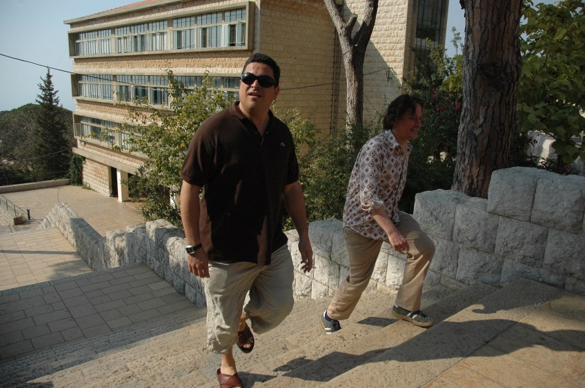 Stewart Innes filming Dom Joly At Brummana High School, Lebanon, where Dom (and myself) studied. Osama bin Laden allegedly studied there too.